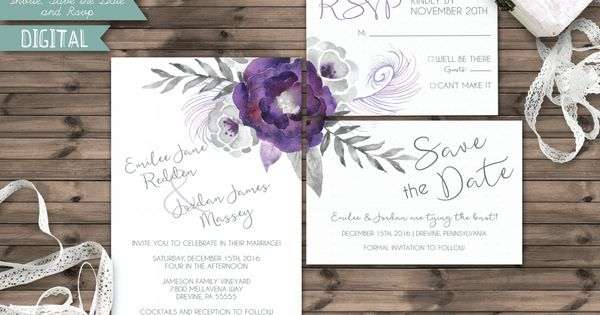Printable Wedding Kit Silver And Purple Watercolor
