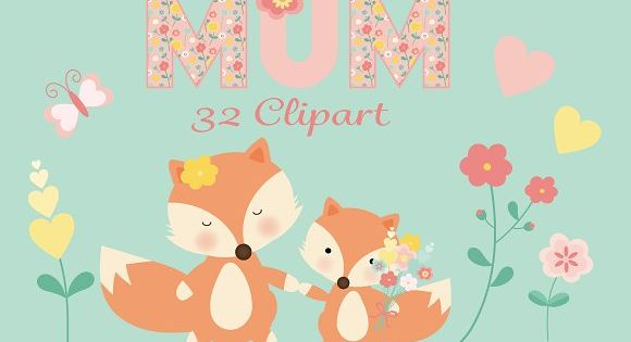 A sweet mummy and baby fox floral clipart set for mothers day