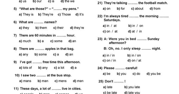 english placement test a1 a2 pdf