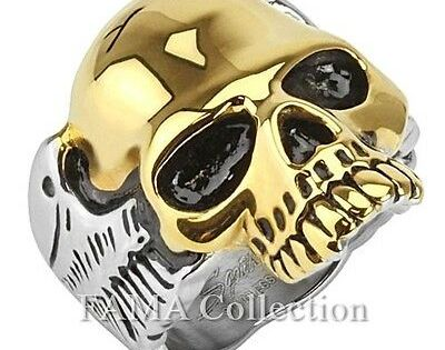 Top Quality FAMA Stainless Steel Gold IP Skull Two Tone Biker Ring Size 9-15