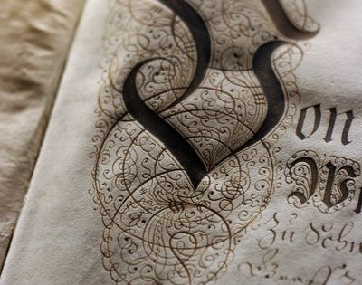 Victorian Calligraphy And Stylistic Flourish In Walnut Ink