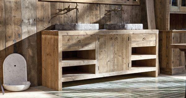 Badkamermeubels van hardsteen en oud hout op maat gemaakt bij jan van ijken oude bouwmaterialen - Badkamermeubels vintage ...