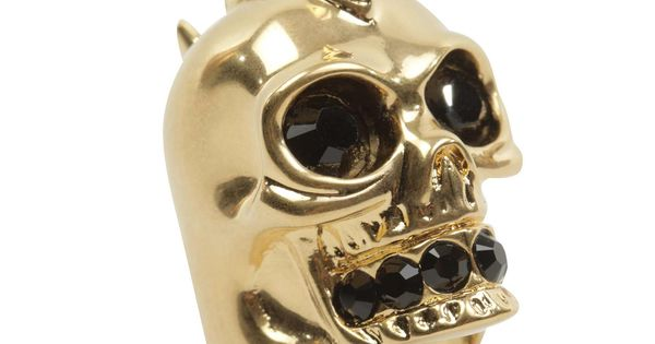 Alexander McQueen ~ Shark tooth skull cocktail ring with crystal ...