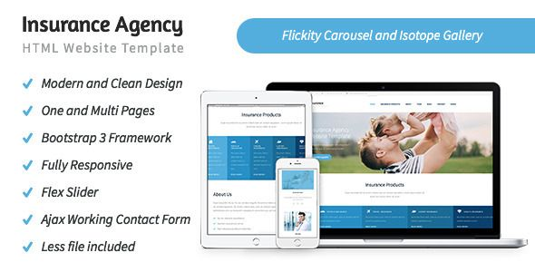 Insurance Agency Html5 Website Template Clean And Responsive