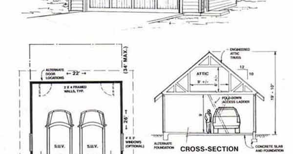 Craftsman Style Two Car Garage With Attic Truss Roof Plan