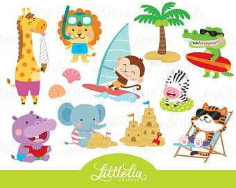 Cute Digital Clipart And Diy Printable By Littleliagraphic On Etsy Beach Clipart Summer Animal Clip Art