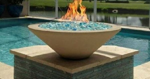 Fire Bowl By Pool Round Gas Fire Bowl With Blue Glass Fire Bowl Done By Hot Concepts Fireplaces In Naples Fl Fire Feature Pool Fire Bowls Outdoor Fire