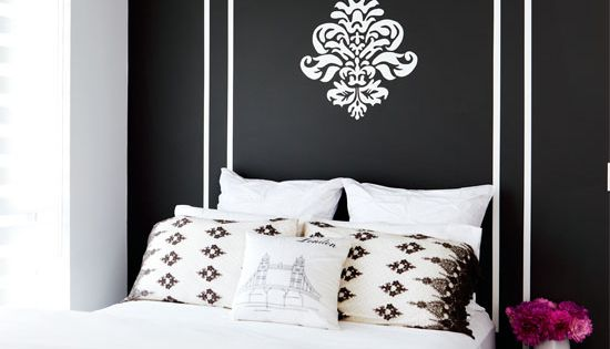 "Great ""headboard"" idea~ black and white decor, bedroom, black walls, chandelier, interiors"