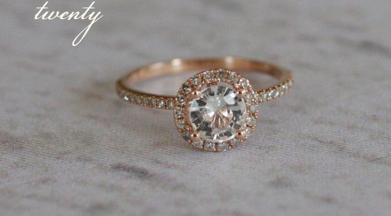 1ct White round sapphire diamond ring a 14k rose gold diamond ring