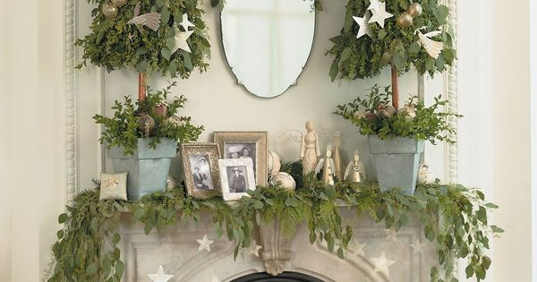 (Like the hanging stars) White Mantel Christmas Fireplaces Decoration Ideas 23 Mantel