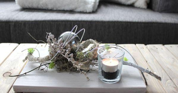 td59 au ergew hnliche tischdeko holzbrett bebeizt und wei geb rstet dekoriert mit. Black Bedroom Furniture Sets. Home Design Ideas