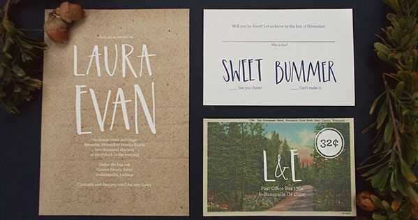 Nature Themed Winter Wedding Inspiration - great invitation suite with adorable typography
