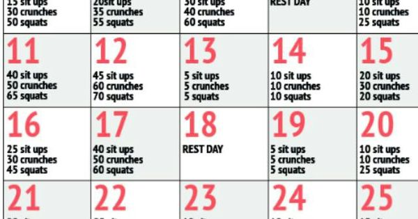 30 Day Challenge Sit Ups Crunches Squats Workin On My