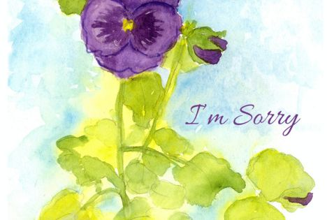 I Rsquo M Sorry Apology Purple Pansy Flower Watercolor Painting Card Ad Ad Purple Pansy Rsq Watercolor Flowers Pansies Flowers Blue Watercolor Floral
