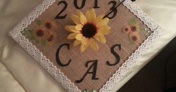 Burlap And Sunflower Decorated Graduation Cap Inspiring