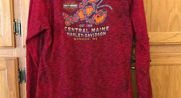 Harley Davidson Shirt Red Black Burnout Look V Neck Long Sleeve Harley Davidson Shirt Long In L In 2020 Harley Davidson Shirt Long Sleeve Tshirt Men Clothes Design