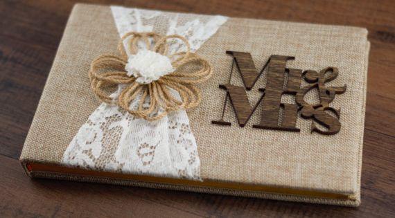 Livre d or de mariage rustique toile de jute dentelle le livre d or livre d or de toile de - Livre d or toile de jute ...