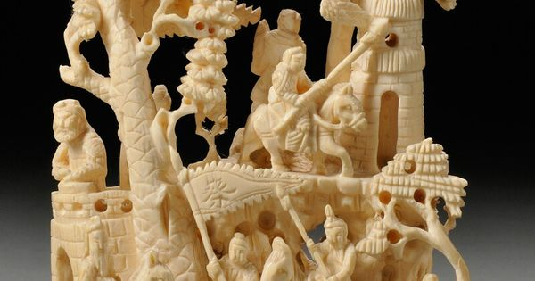 Ivory group china high relief carving of warriors in a
