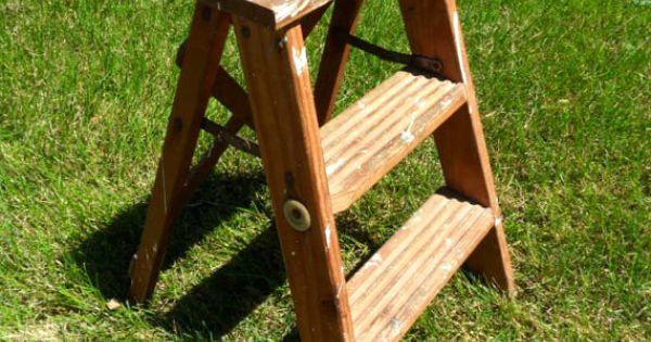Old Fashioned Wood Step Stool Rustic Folding Ladder 22