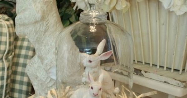 #easter bunny glass cloche
