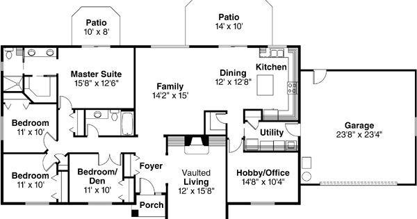Ranch style house plans 2086 square foot home 1 story for Ranch house plans with bedrooms together