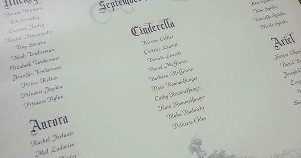 Disney Wedding Cinderella Seating Chart seatingchart disneybride fairytalebride
