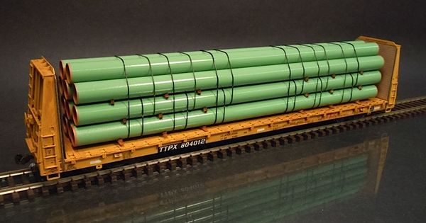 Steel Line Pipe : Ho scale stack coated steel line pipe green trucks