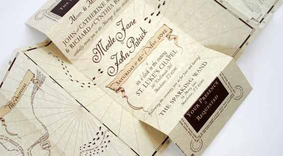 Romance Managed - Harry Potter Inspired Wedding Invitation Suite. $8.00, via Etsy.