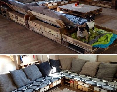 eine riesen sofa ecke aus aufbereiteten europaletten sogar mit einem extrapl tzchen f r die. Black Bedroom Furniture Sets. Home Design Ideas