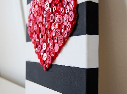 button heart canvas totally cute for valentines day or anytime to do
