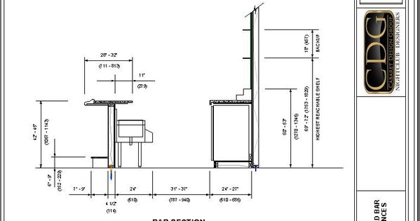 Drawing of Standard Ergonomic Bar Clearances  Reference  Pinterest  식당
