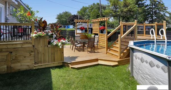 Patio avec piscine hors terre ext rieur jardinage for Plan pour patio exterieur