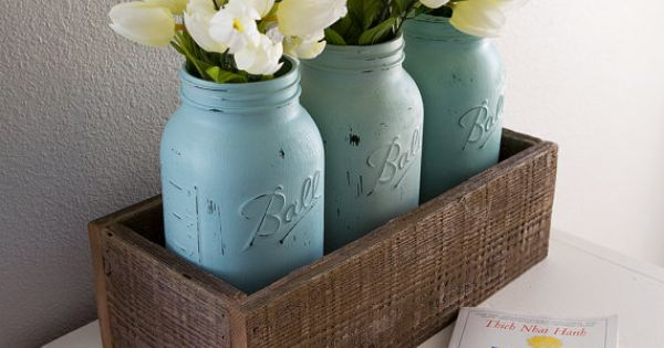 3 Large Hand Painted Mason Jars with Wood Flower Box, Wedding Mason