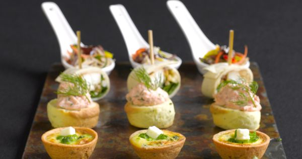 Canapes scallop vierge goats cheese tartlets parties for Canape display stands