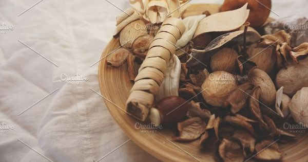 Mixtures of flavoring herbs, spices and fruits for home spa.