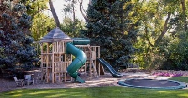 Swing Set And In Ground Trampoline Play Area Backyard Backyard Play Backyard Playground