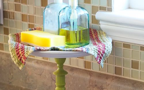 Totally cute idea! Cake stand for your sink soaps so I dont