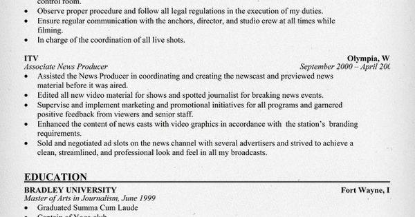 News Producer Resume - Madrat.Co