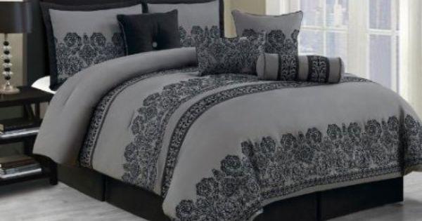 Amazon Com 10 Piece Cal King Miya Black And Gray Comforter Set Home Kitchen Black And Grey Bedding Comforter Sets Grey Comforter Sets