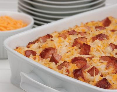 Cheesy Potatoes with Smoked Sausage Recipe 1 package(s) Hillshire Farm® Smoked Sausage