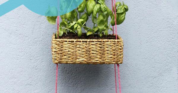 Hanging basket garden idea for miniatures.