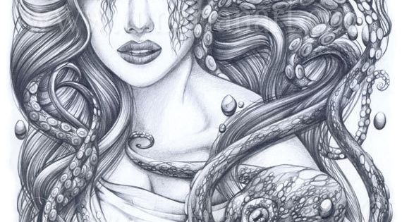 Mermaid & Her Octopus Print Mermaid Art by Lunarianart on Etsy, £4.99