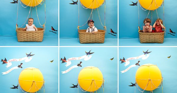 Kids' Hot Air Balloon Photobooth DIY I love this idea. Cute birthday