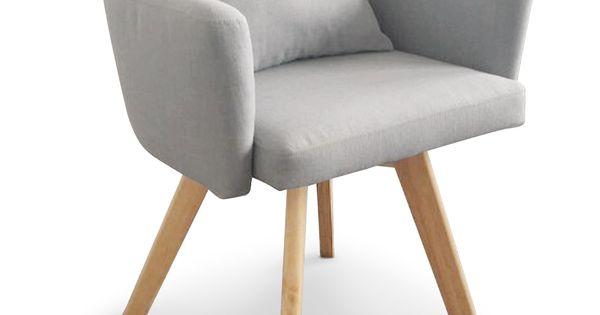 Chaise fauteuil scandinave dantes tissu gris clair - Chaise fauteuil tissu ...