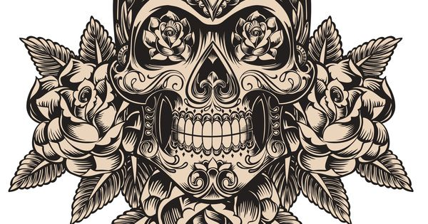 SKULL & ROSES CROSS STITCH CHART