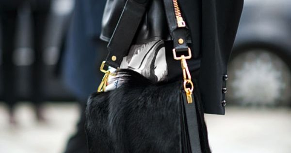 Love all black with splashes of color. The fur bag with the