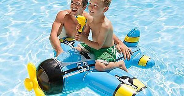 Airplane Water Gun Swim Pool Float Inflatable Fighter Plane Pistol Kid Beach Toy