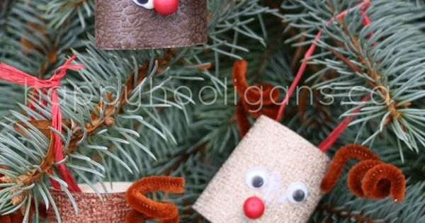 Make this easy homemade toilet paper roll reindeer ornament craft for kids