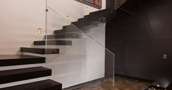 Stunning Darkwood Floating Staircase Design With Glass