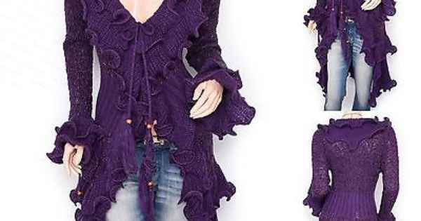 Retro Curves Ruffles Collared Knit Cardigan Long Sweater Jacket I so want